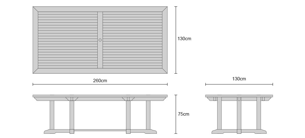 Hilgrove Rectangular Garden Table 260 - Dimensions