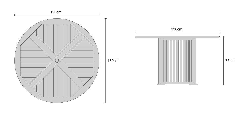 Aero Teak Round Contemporary Dining Table - Dimensions