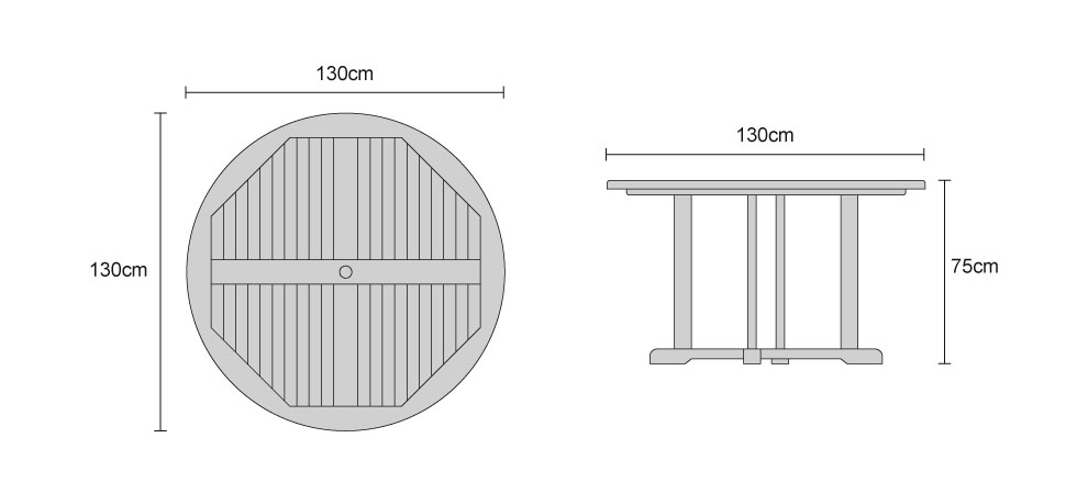 Canfield Teak Outdoor Round Table - Dimensions
