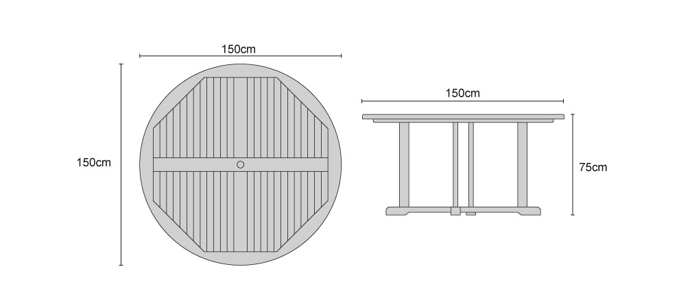 Canfield Teak Round Table 1.5m - Dimensions