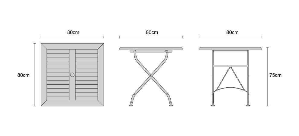 Square Bistro Folding Table 80cm - Dimensions