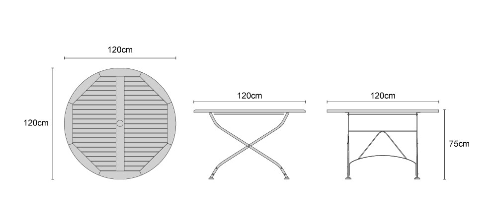 Bistro Teak Round 1.2m Table - Dimensions