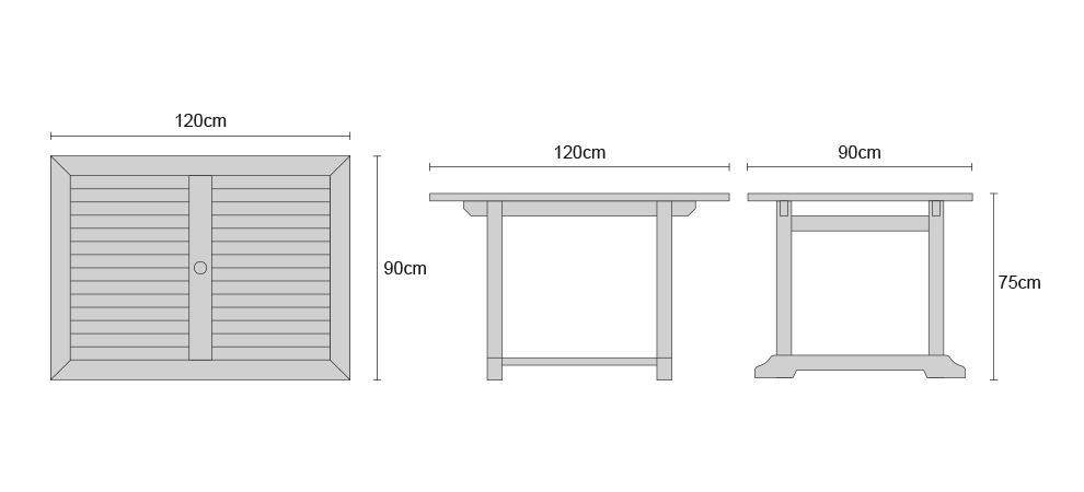 Hilgrove 4ft Teak Rectangular Garden Table - Dimensions