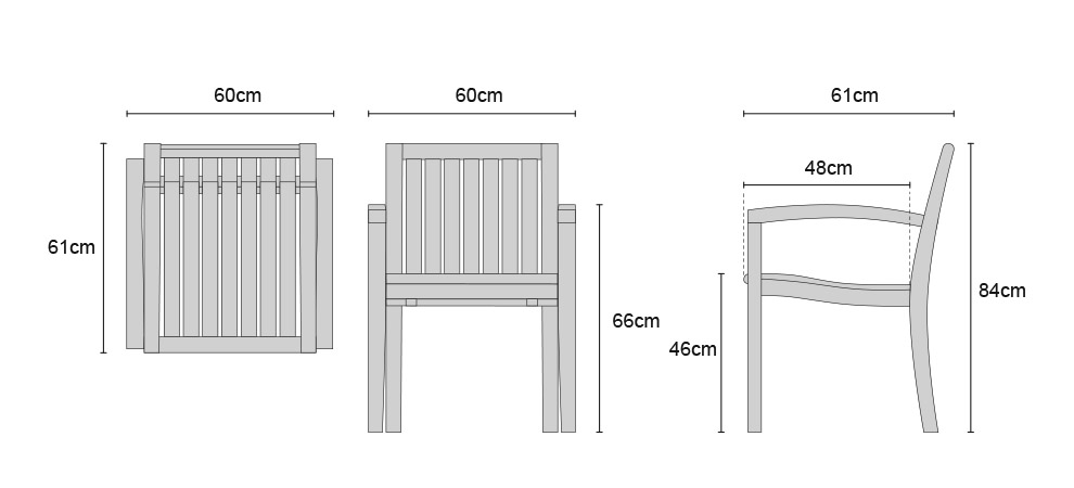 Monaco Stacking Chairs - Dimensions