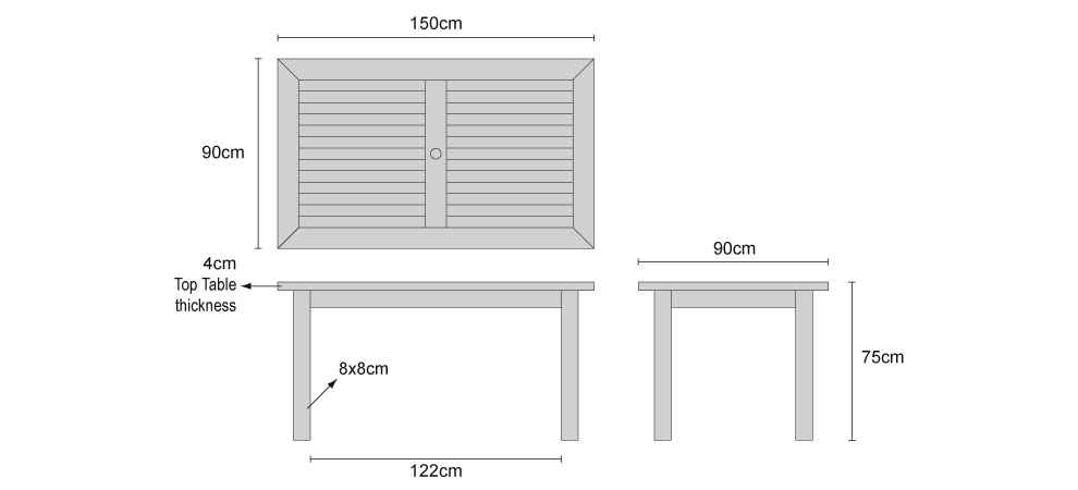 Dining Table For 20 Dimensions: Balmoral 5ft Teak Outdoor Oblong Dining Table