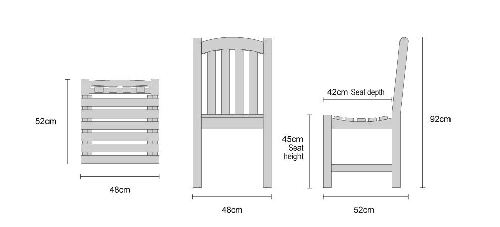 Clivedon Teak Garden Chair - Dimensions