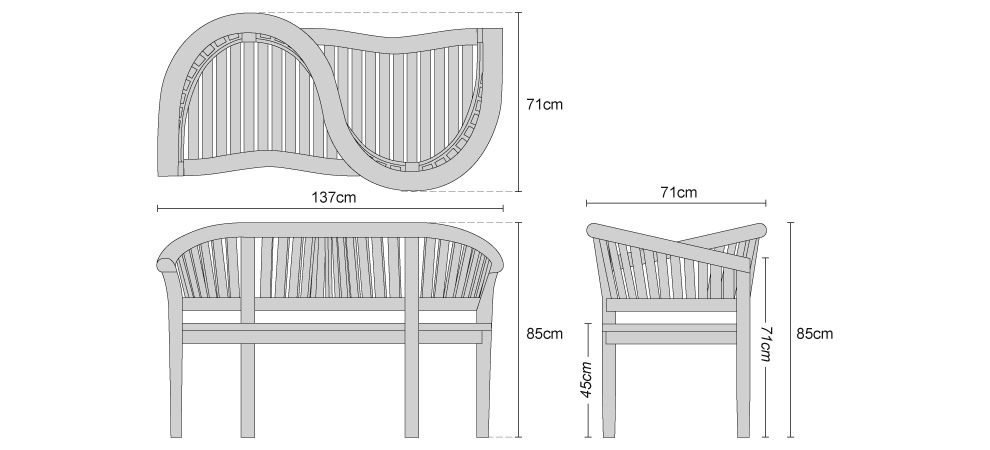 Teak Garden Love Seat - Dimensions