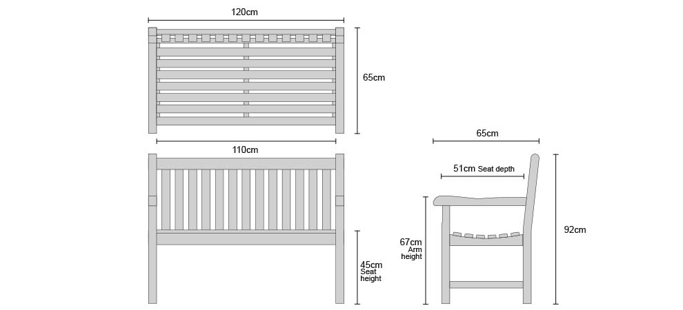 Windsor Garden Bench 1.2m - Dimensions