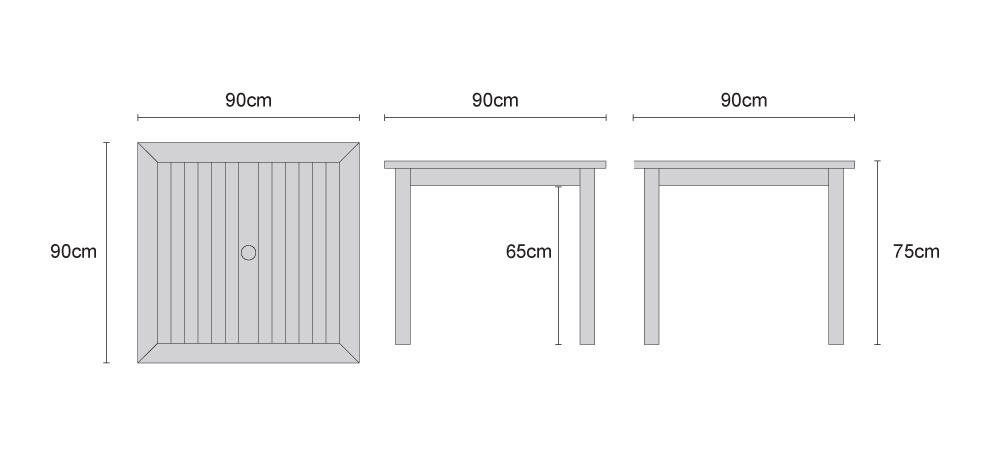 Sandringham Square Teak Outdoor Table - Dimensions