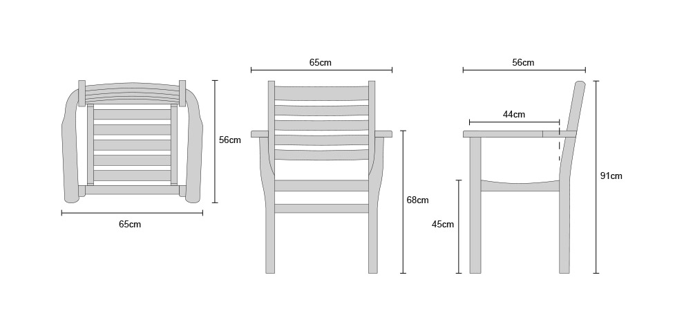 Yale Teak Stacking Chairs - Dimensions