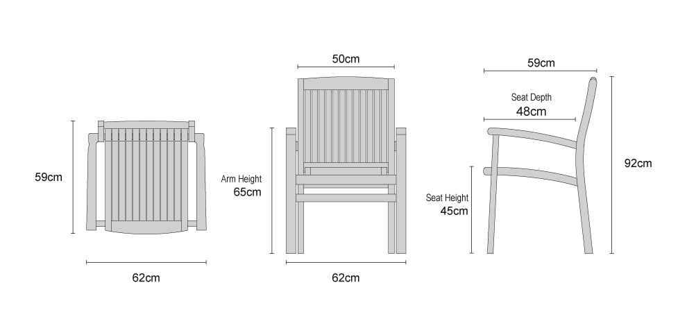 Bali Teak Stacking Chair - Dimensions