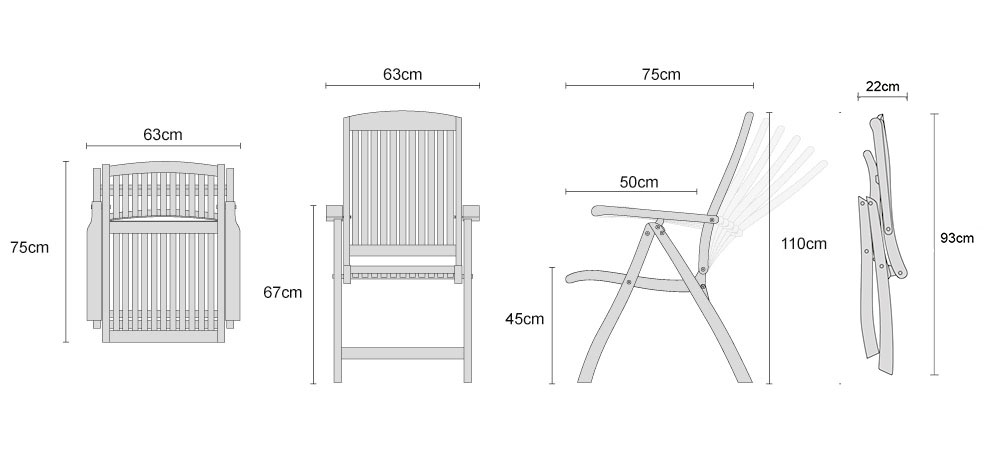 Bali Teak Reclining Chairs - Dimensions