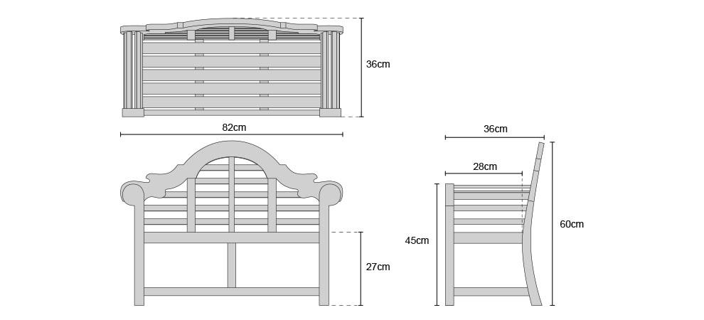 Teak Lutyens Childrens Garden Bench