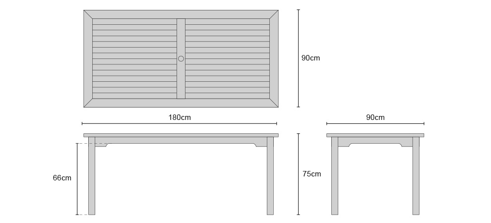 Sandringham Fixed Rectangular Table - Dimensions