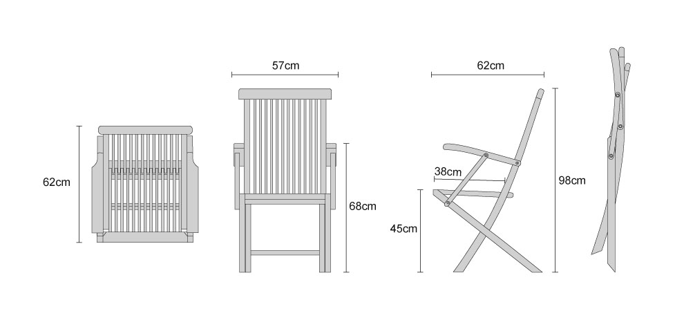Ashdown Teak Folding Armchairs - Dimensions