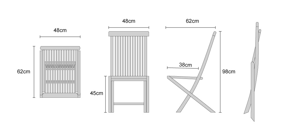 Ashdown Teak Folding Dining Chair - Dimensions