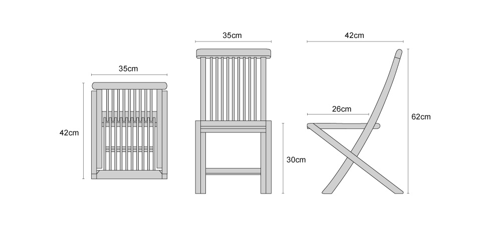 Children's Ashdown Teak Chairs - Dimensions
