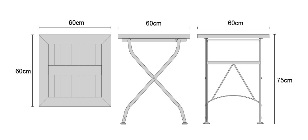Square Folding Bistro Table - Dimensions