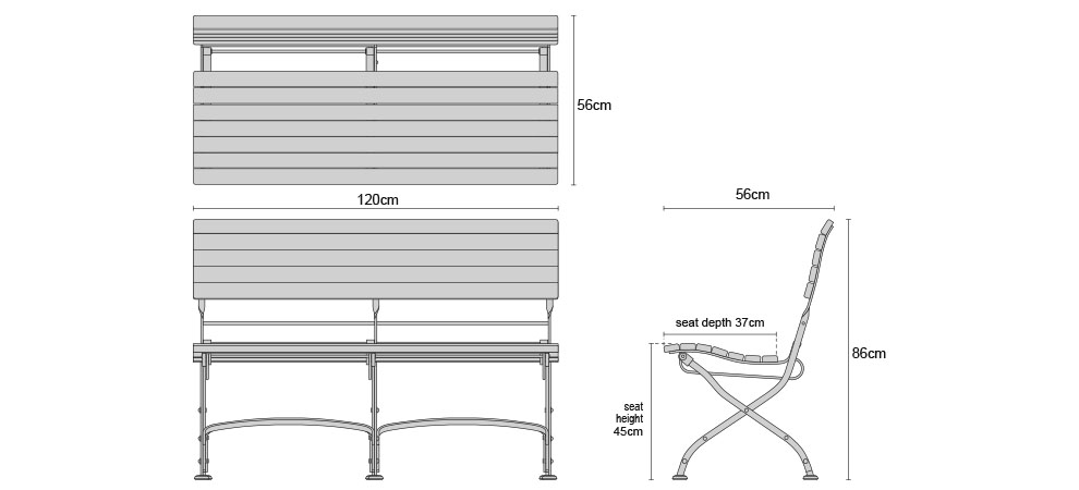 LT141 Bistro 1.2m Garden Bench without Arms - Dimensions