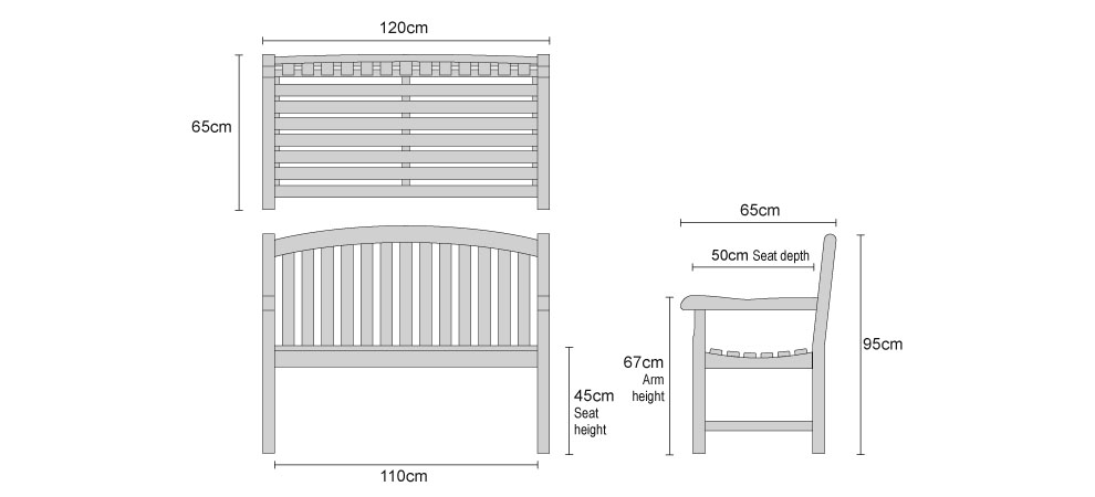 Clivedon Garden Bench 1.2m