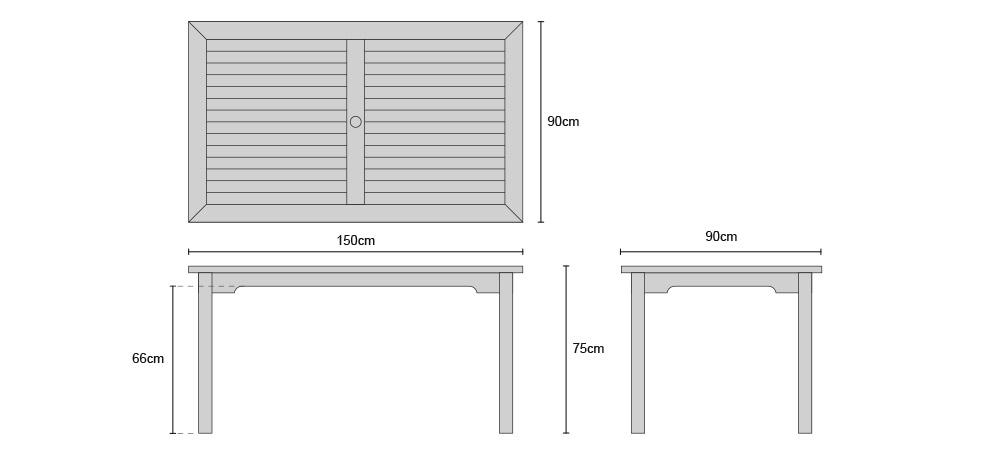 Sandringham Teak Garden Table - Dimensions
