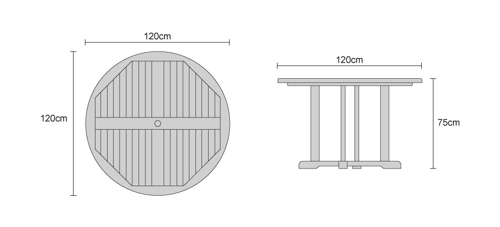 Canfield Garden Round Teak Table 120 - Dimensions