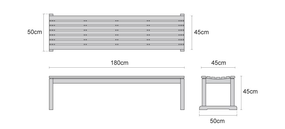 Westminster Teak Backless 6ft Garden Bench - Dimensions