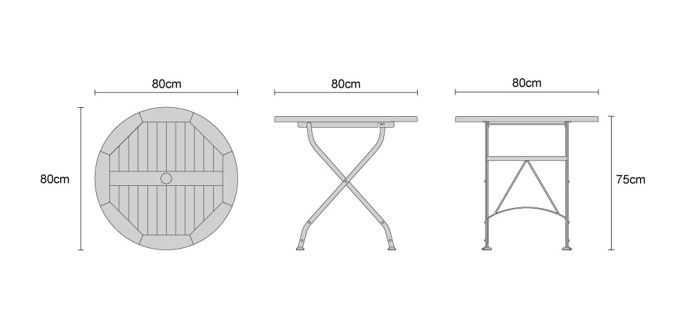 Bistro Round Folding Dining Table - Dimensions
