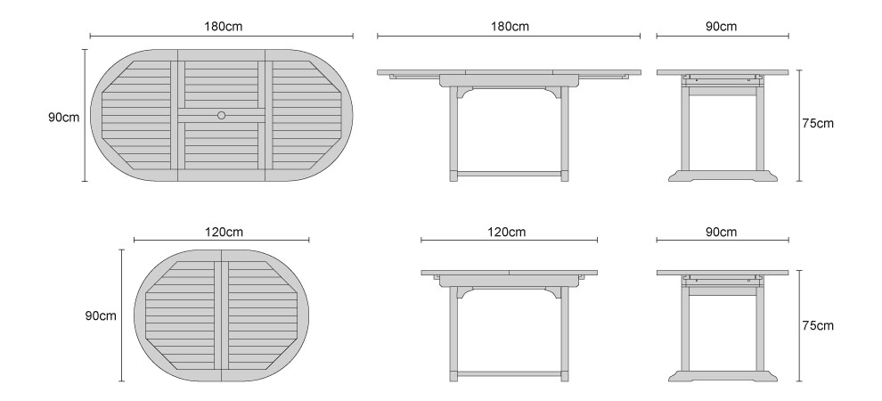 Narrow Teak Extendable Outdoor Dining Table - Dimensions