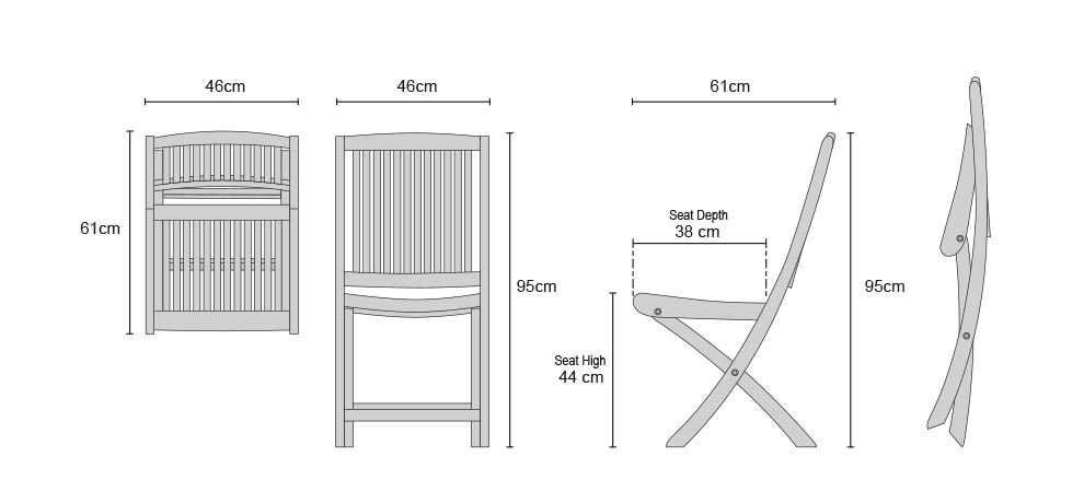 Rimini Teak Folding Side Chairs - Dimensions