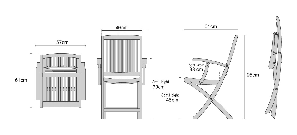 Rimini Folding Armchairs - DImensions