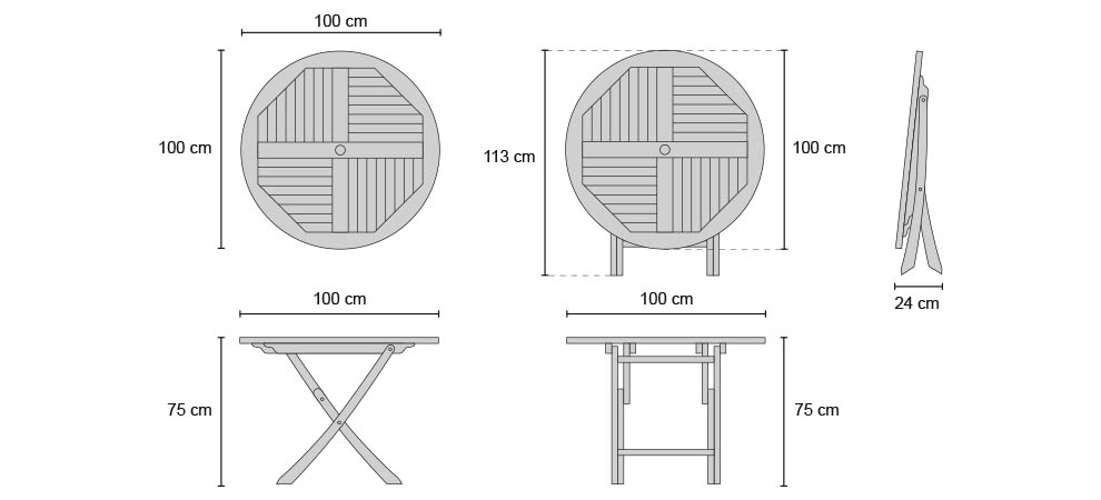 Suffolk Round Folding Table 1m - Dimensions