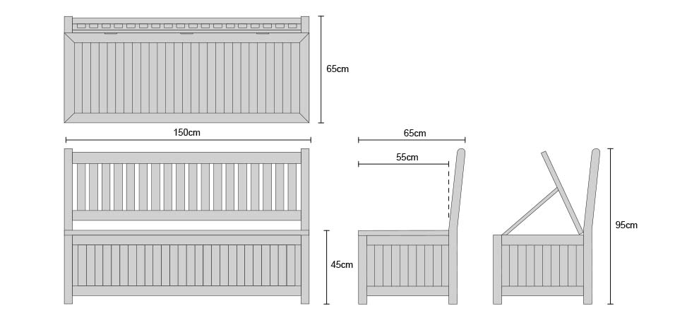 Windsor 5ft Teak Outdoor Storage Bench - Dimensions