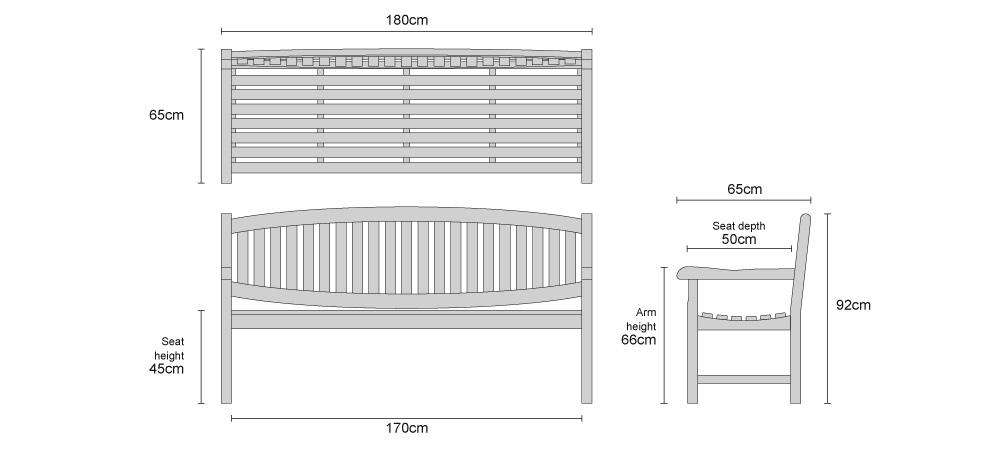 Ascot Teak 4 Seater Garden Bench - Dimensions