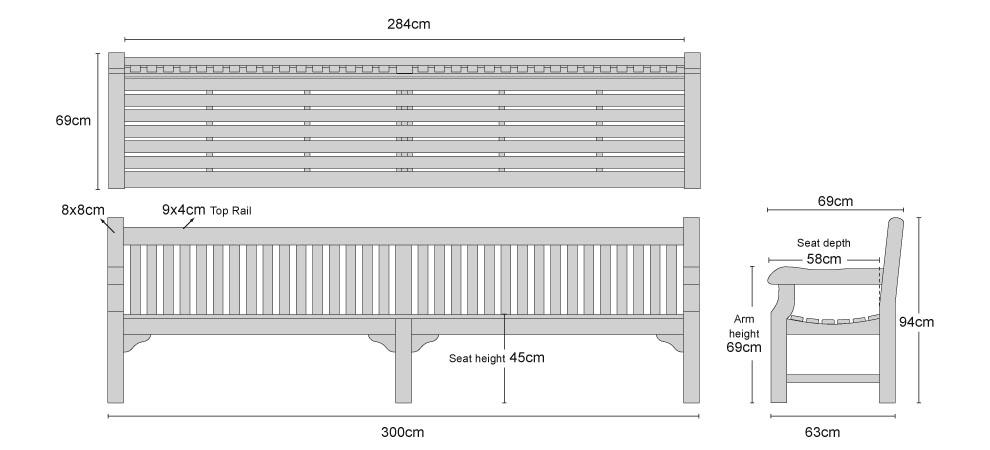 Balmoral Large Teak Park Bench 300