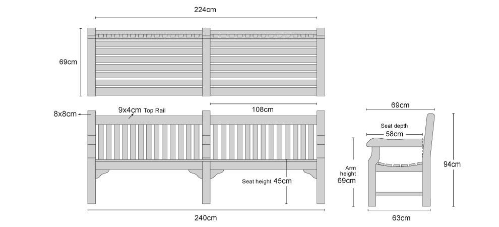 Balmoral Teak 8ft Outdoor Park Bench 240