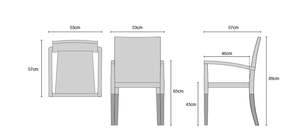 St Tropez Teak Chairs - Dimensions