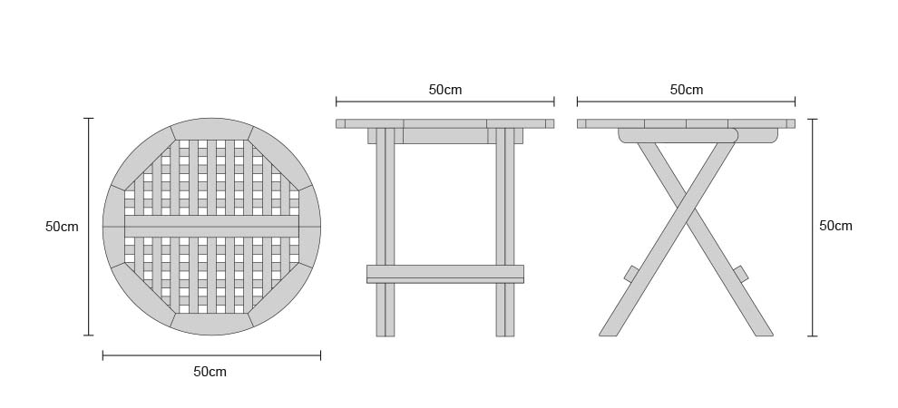Folding Round Teak Picnic Table - DImensions