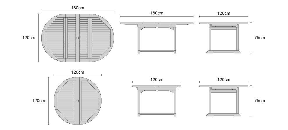 Brompton Teak Extending Double-Leaf Table - Dimensions