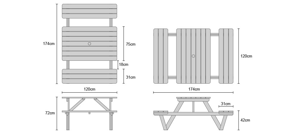 4ft Teak Picnic Bench - Dimensions