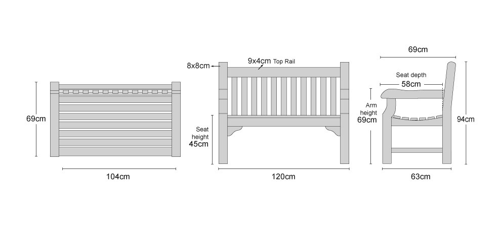 Balmoral 4ft Teak Park Bench - Dimensions