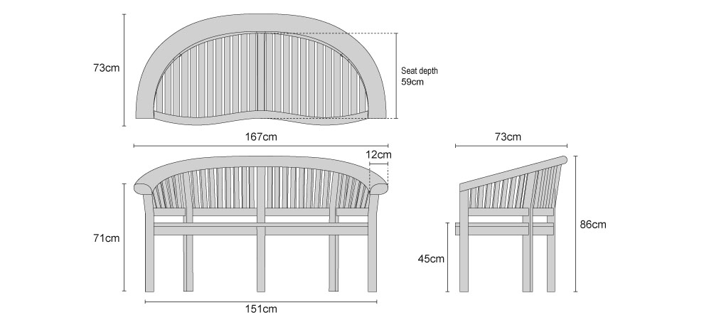 Super-Deluxe Teak Banana Bench - Dimensions