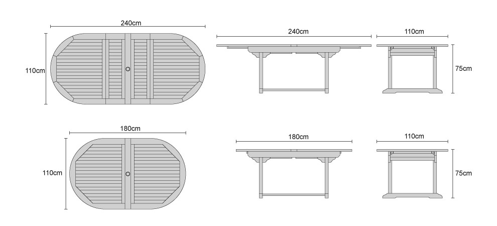 Brompton Extending Double Leaf Table - DImensions
