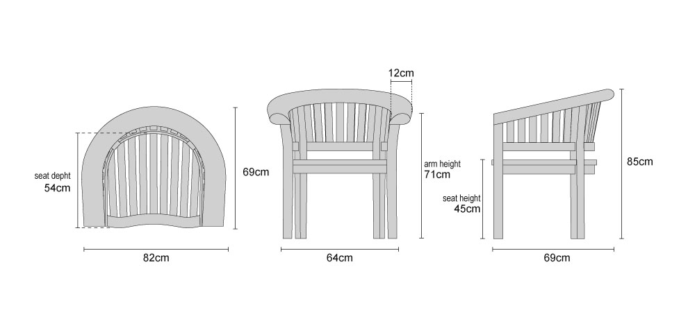 Deluxe Banana Chairs - Dimensions