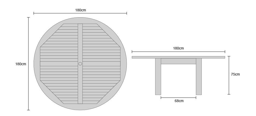 Titan Teak Round Table - Dimensions