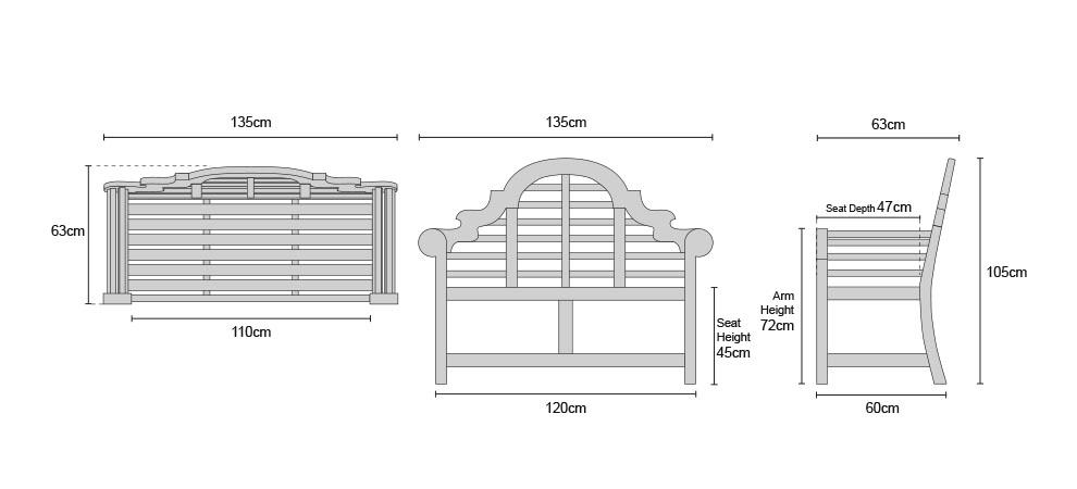 Lutyens Teak Bench 1.35m - Dimensions