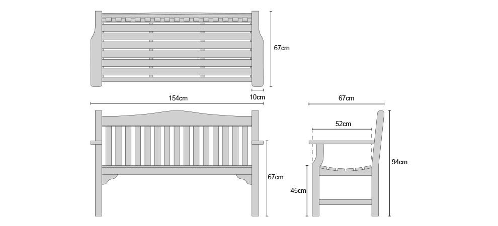 Tribute 5ft Teak Commemorative Memorial Bench - Dimensions