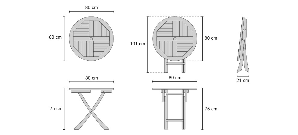 Suffolk Teak Round Folding Table - Dimensions