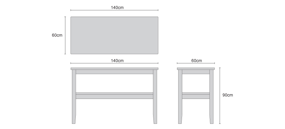 Aria Patio Buffet Table - Dimensions