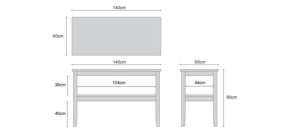 Aria Patio Console Buffet Table - Dimensions